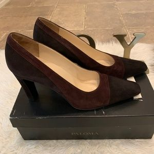Paloma Classic Brown Color Block Suede Heels /Pump